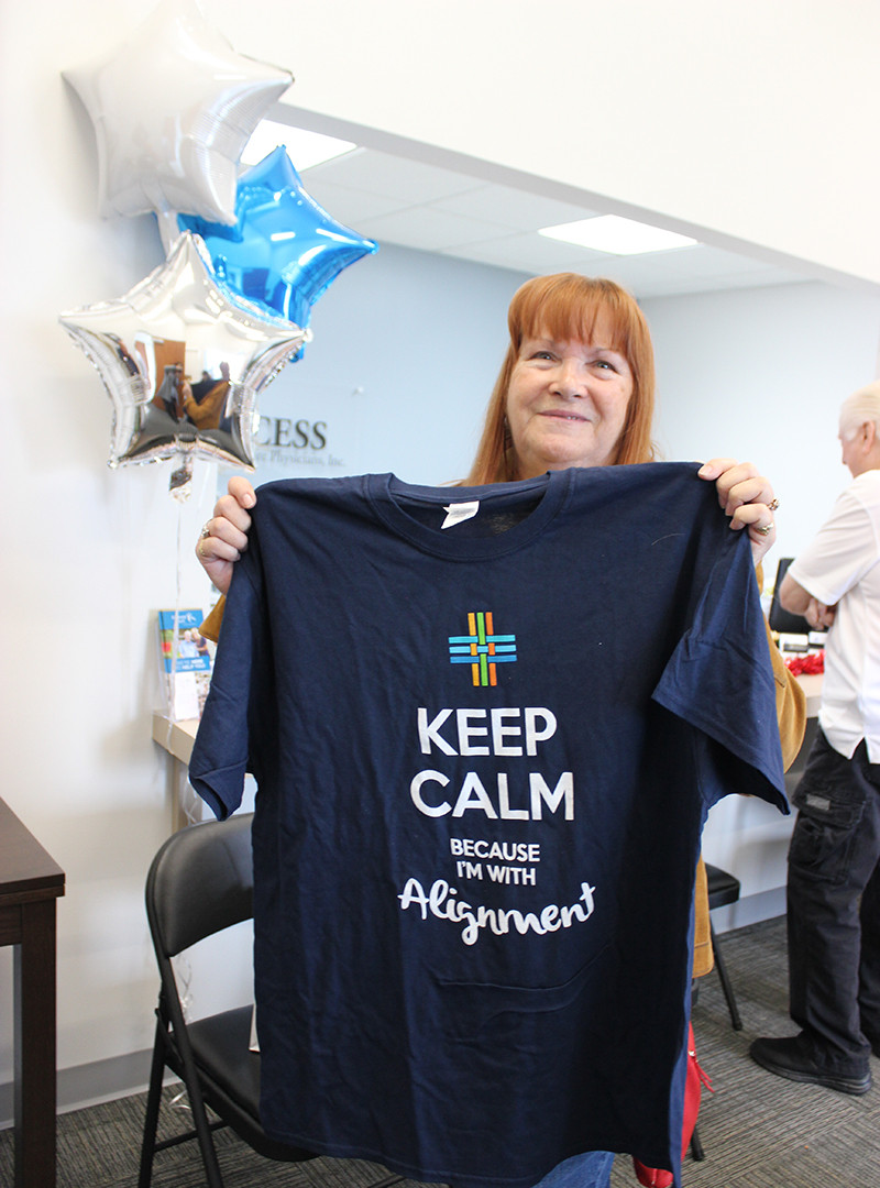 Access Primary Care Physicians Anaheim open house raffle prize winner, Linda Collier.