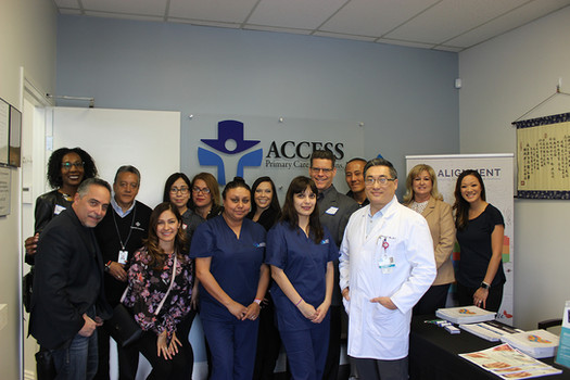 Dr. Jackson Ma (front right) with his Access Primary Care Physicians and Alignment Health Plan team in Montebello.