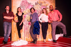 'Character Gertrude'; with cast of Rosencrantz and Guildenstern are Dead