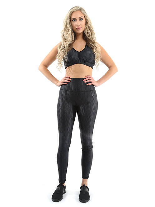 Genova Activewear Set - Leggings & Sports Bra - Black  - Size Small
