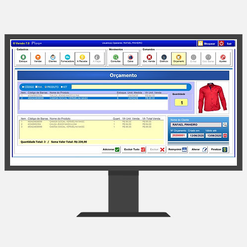 Controle de estoque e vendas com criação de orçamentos 7.0 Plus+