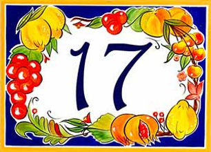 Hand painted porcelain fruits sign