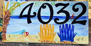 Hand painted beach house number plaque