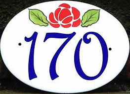 Oval address sign red rose