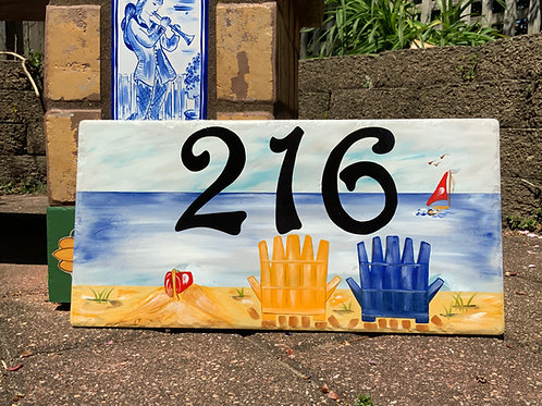 Beach nautical personalized house number sign