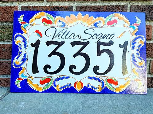 Custom large house number tile