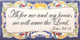 Colorful prayer ceramic wall plaque