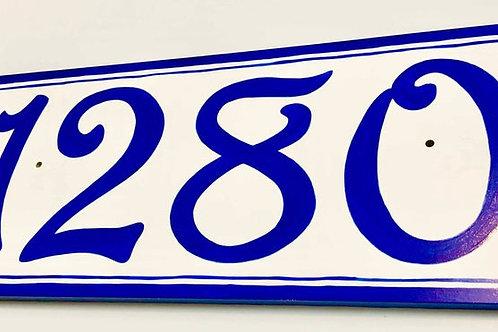 Classic European cobalt blue sign
