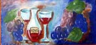 Small ceramic mural Vino and grapes
