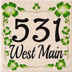 Irish green shamrock clover house number sign