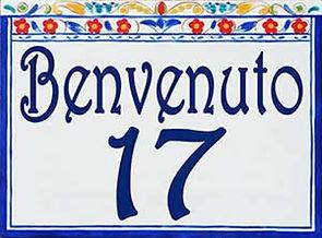 Welcome address porcelain sign