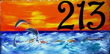 Dolfin Beach Scene House Number Plaque