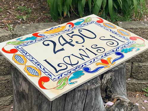 Large decorative tile for address