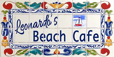 Decorative hand painted store sign, porcelain