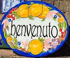 Oval Italian lemons welcome door sign