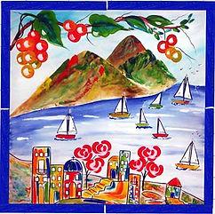 Italian Positano Mural Nautical