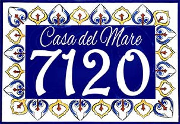 Maroccan hand painted address sign