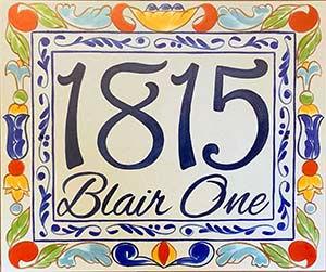 Spanish decor colorful address plaque