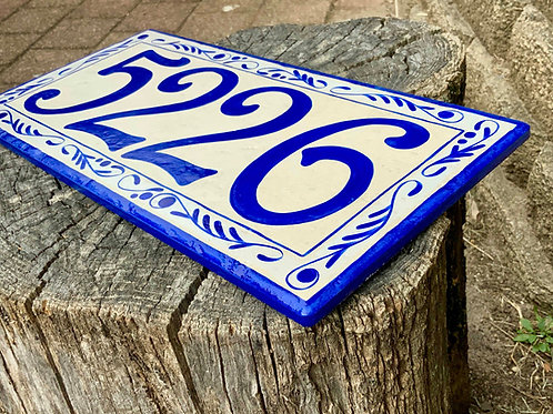 Large Cobalt blue house number plaque