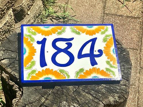 Sunflower address numbers ceramic