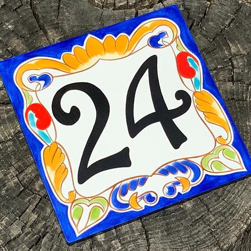 Italian cobalt blue house number sign