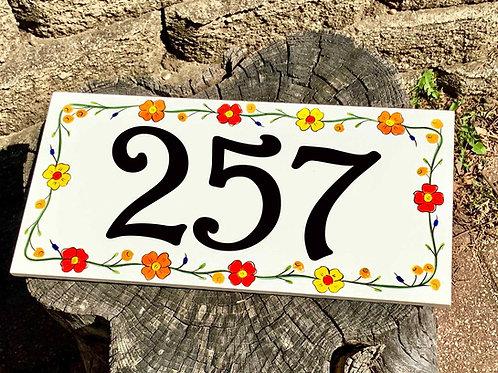 Tiny flowers door numbers