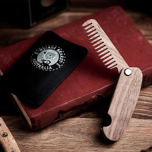 Weirdy Beardy Leather Case + Beard Comb