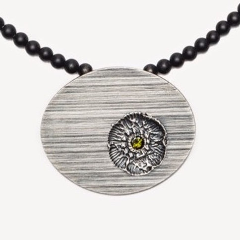 Vintage Flower Stamp Necklace on Onyx