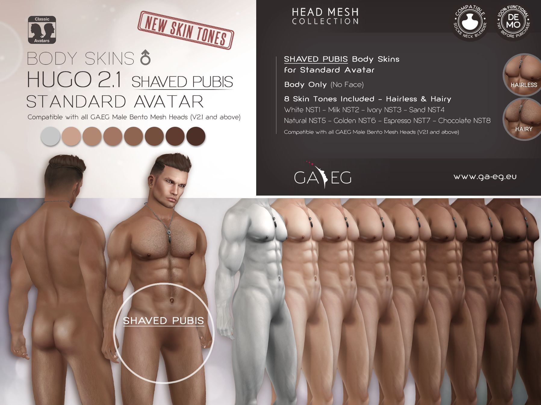 Hugo BODY SKINS SHAVED PUBIS Classic