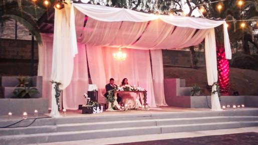 Wedding couple at venue