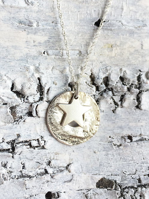 Sterling silver 15mm washer with star necklace