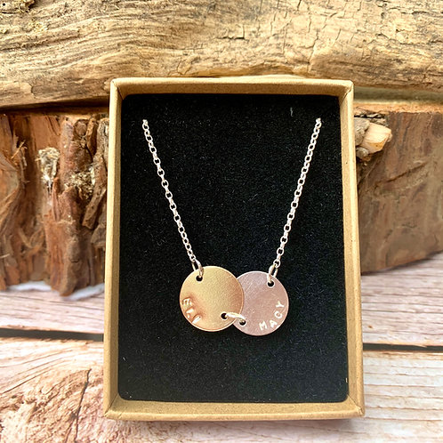 15mm duo sterling silver and gold disc necklace