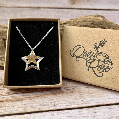 Trio sized star necklace