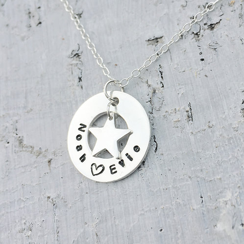 Personalised sterling silver washer and star