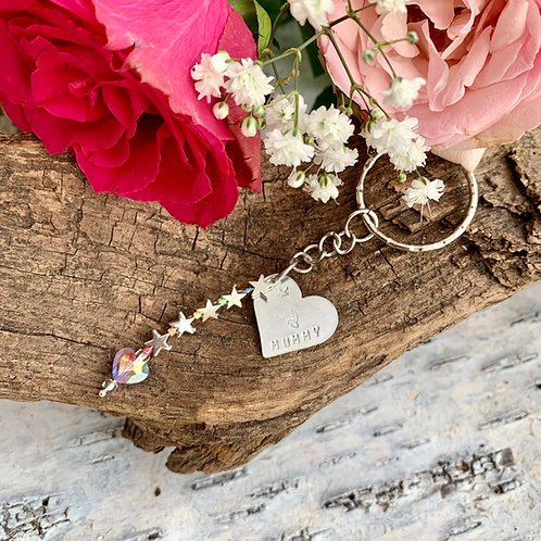 Personalised heart and star key ring
