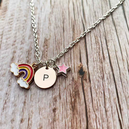 Personalised silver plated charm necklace