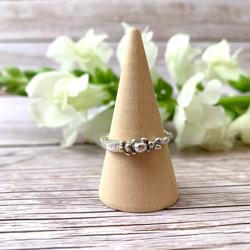Sterling silver bubble ring - size N