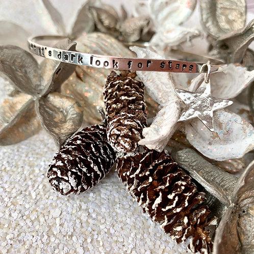 'When it's dark' D shaped wire sterling silver bracelet