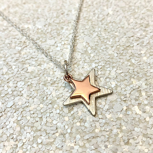 Sterling silver and rose gold duo star necklace
