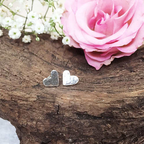 Hand cut sterling silver hammered heart earrings