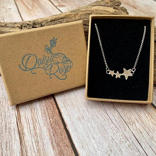 Handmade sterling trio star necklace