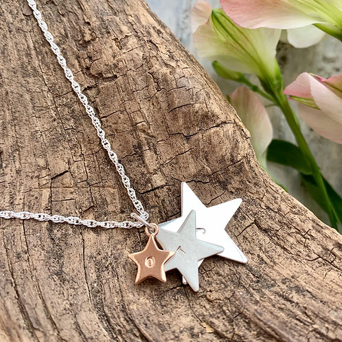 Personalised trio star necklace