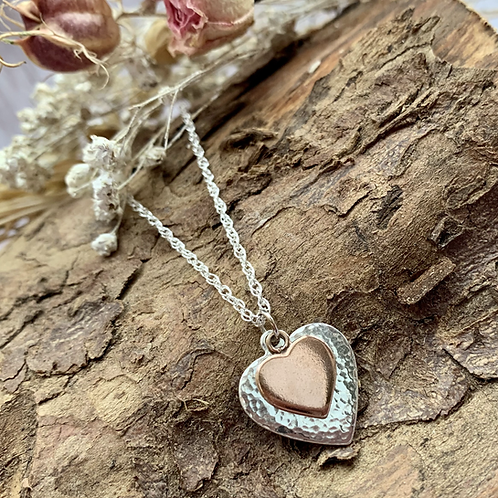 Double sterling silver & rose gold heart necklace