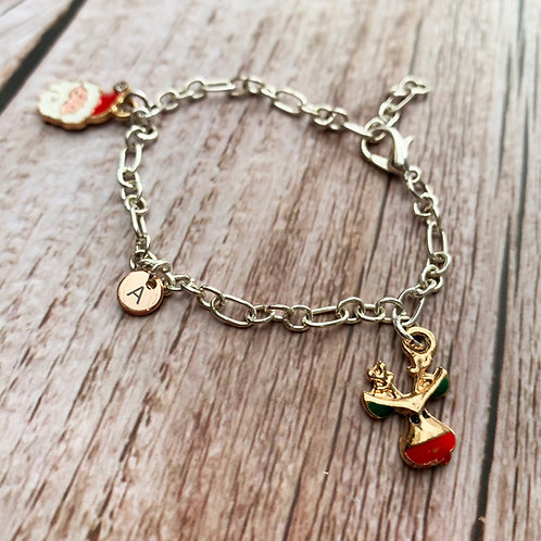 Personalised silver plated Christmas charm bracelet