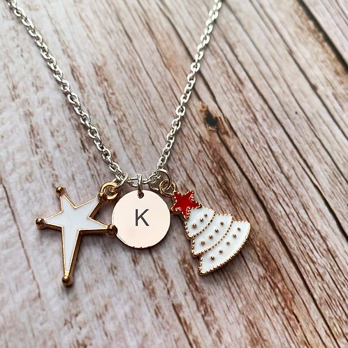 Personalised silver plated Christmas charm necklace
