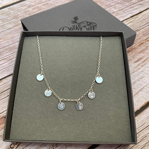 Sterling silver miniature disc  necklace