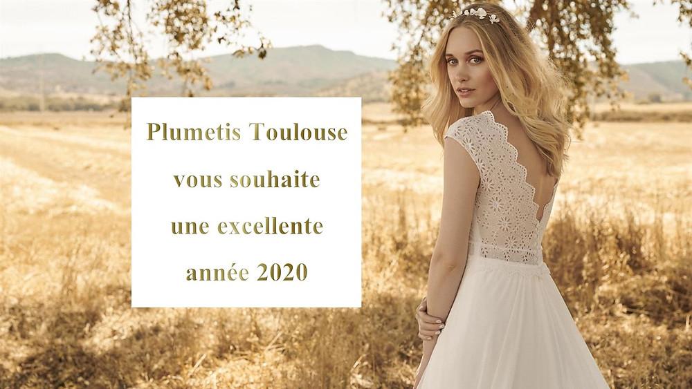 bonne année 2020 plumetis robe de mariée toulouse