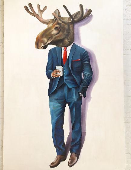 Moose painting. Maker coffee painting. Moose man