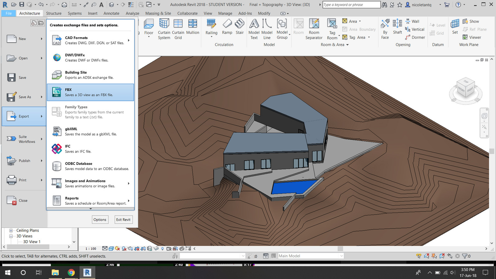 1  Exporting Revit File with Topography into FBX File png