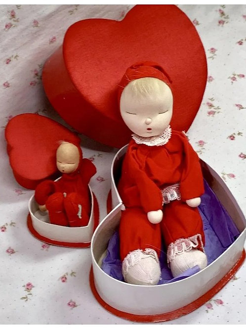 Extremely RARE * 2 Shackman RED Valentine Heart Sleepy Dolls 1959